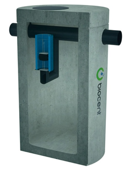 Coalscence Separator from concrete with a BY-PASSEM and a sedimentation basin BIOSEP-OCB