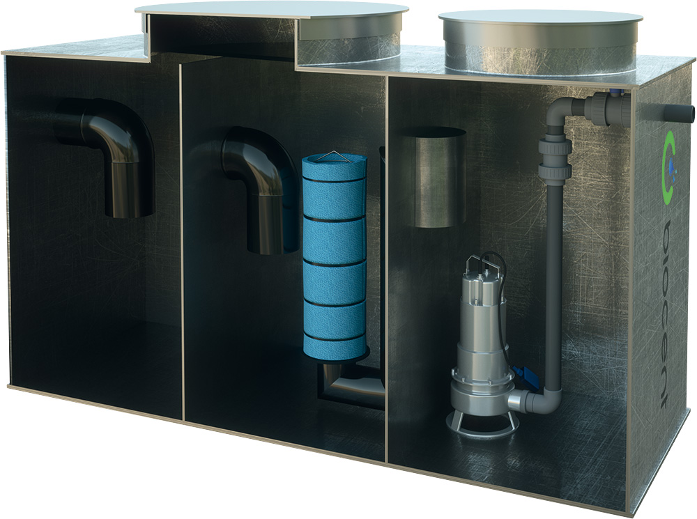 Coalescence Separator from PEHD with a sedimentation basin and a pump chamber BIOSEP-OP-KP