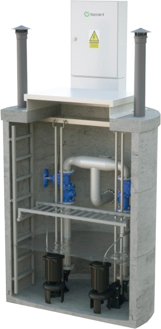 Pumping stations for buildings and sewarage and rainwater sewarage systems